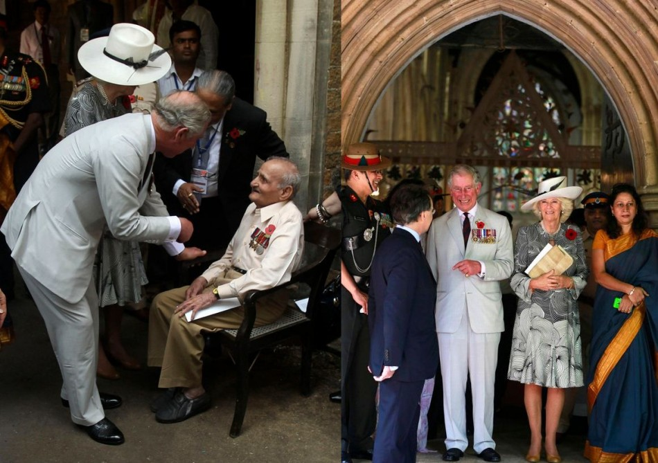 Prince Charles and Camilla meet a war veteran, Madahukar Dongre (L), at Mumabai's Afghan Church where they attended Remembrance Day Service. (Photo: REUTERS/Rafiq Maqbool)