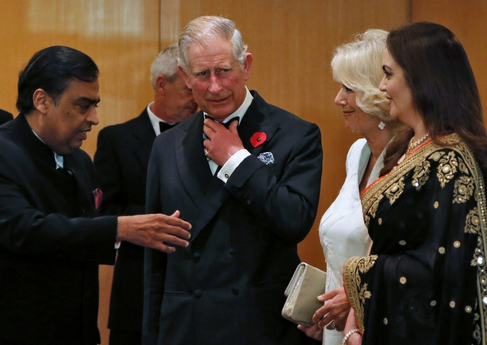 Mukesh Ambani (L), Chairman and Managing Director of Reliance Industries, along with Britain's Prince Charles and his wife Camilla and Nita Ambani (R), Chairperson of Reliance Foundation and wife of Mukesh Ambani