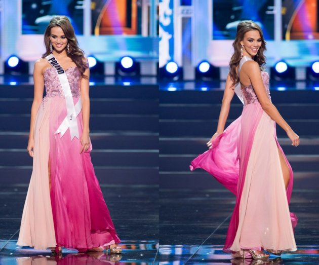 Paulina takes part in evening gown round during the Miss Universe 2013 pageant. (Photo: HO/Miss Universe L.P., LLLP)