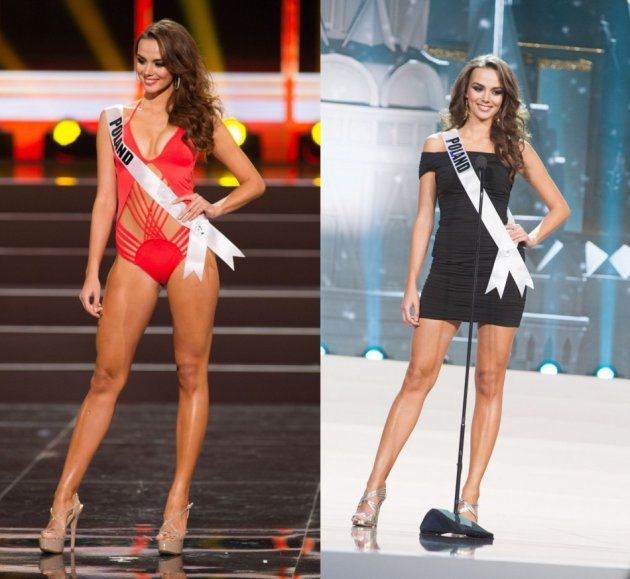 Paulina competes in the swimsuit competition (L) and introduces herself during the Miss Universe 2013 pageant. (Photo: HO/Miss Universe L.P., LLLP)