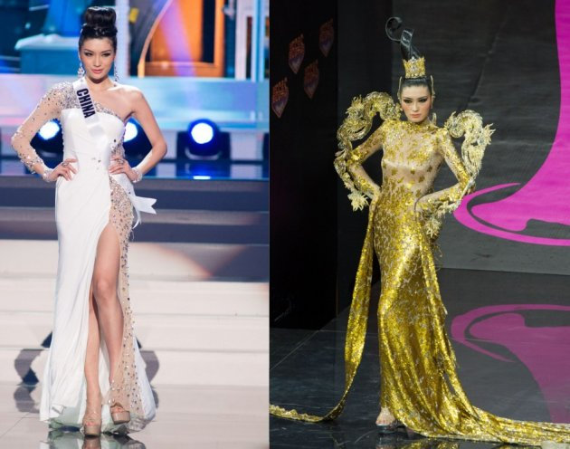 Jin Ye competes in evening gown (L) and National Costume show during Miss Universe 2013 pageant.  (Photo: Miss Universe L.P., LLLP)