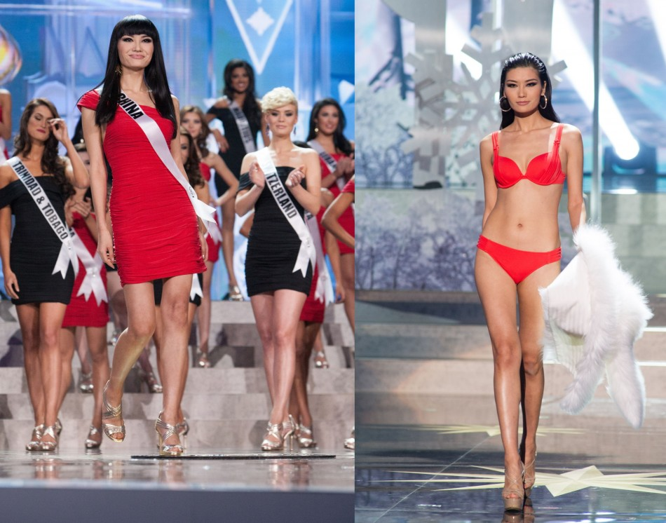 Jin Ye, Miss Universe China 2013, is announced as one of the top sixteen contestants in Sherri Hill fashion and Chinese Laundry footwear during the opening of Miss Universe 2013 pageant (L); she competes as one of the top sixteen contestants in Yamamay sw
