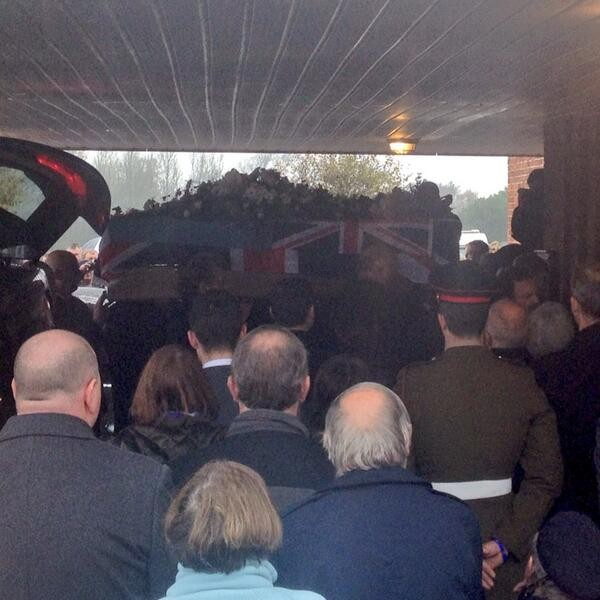 The Dambusters theme was played as Harold Jellicoe Percival's coffin was carried into the chapel (Twitter/Helen Pidd)