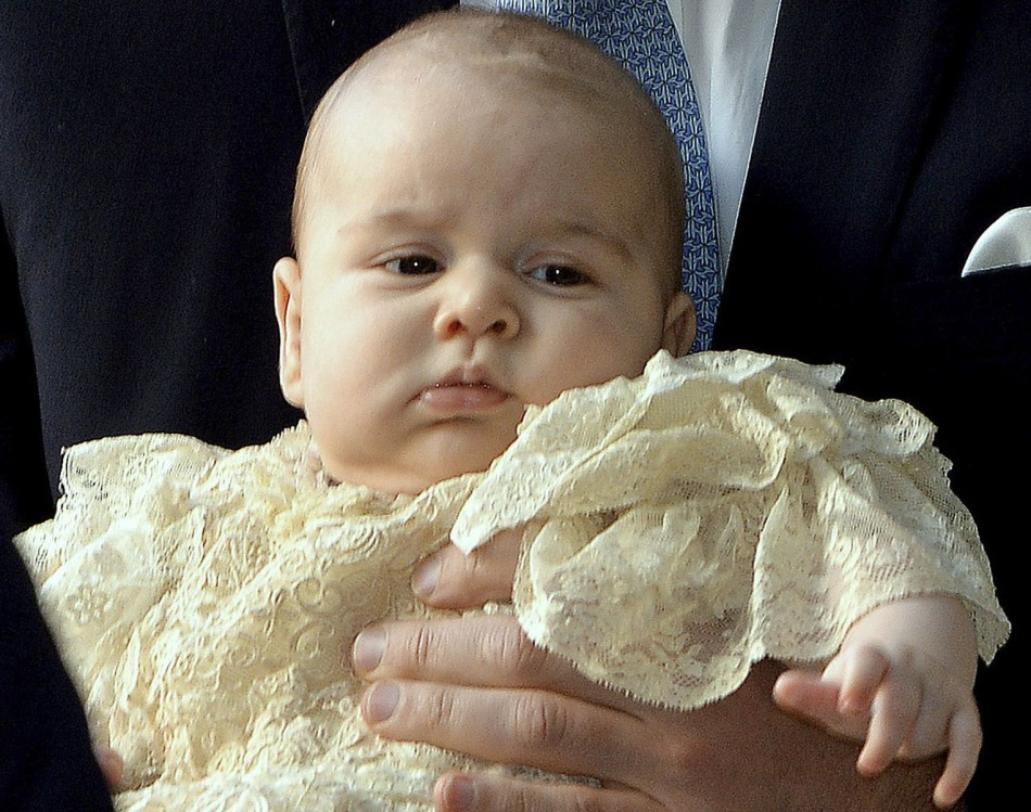 Prince George on the day of his christening at St James's Palace on October 23, 2013. George was born on 22 July. (Photo: REUTERS/John Stillwell)