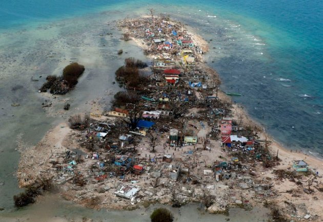 An aerial view of a coastal town, devastated by super Typhoon Haiyan, in Samar province in central Philippines. (Photo: REUTERS/Erik De Castro)