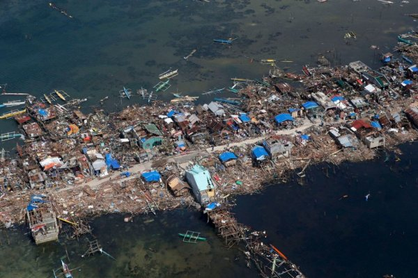 An aerial view of a fishing village in Guiwan town, devastated by super Typhoon Haiyan