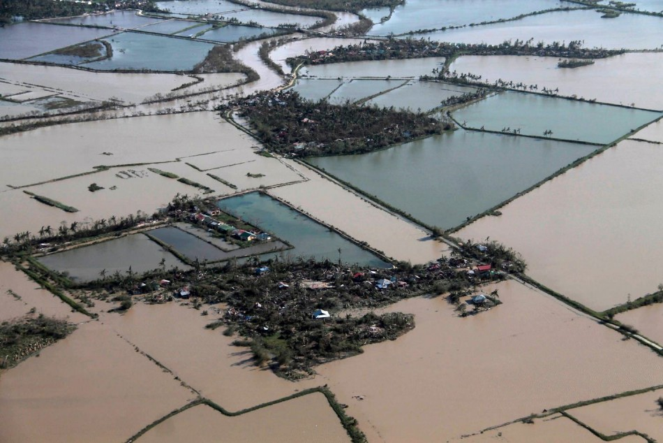 An aerial view shows flooded rice fields after Typhoon Haiyan hit Iloilo Province. (Photo: REUTERS/Erik De Castro)
