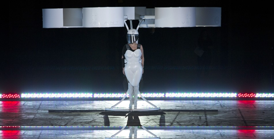 Lady Gaga unveiled her flying dress in a warehouse at the Brooklyn Navy Yard, New York. (Reuters)