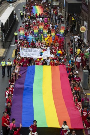 Participants hold a giant rainbow flag during the annual gay pride parade in Hong Kong November 9, 2013. Participants from lesbian, gay, bisexual and transgender communities took to the street on Saturday to demonstrate for their rights. REUTERS/Tyrone Si