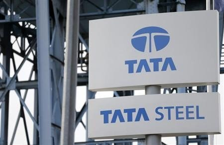 The Tata Steel logo is seen at the Tata Steel rails factory in Hayange, Eastern France, September 25, 2013.