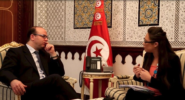 Lianna Brinded, business editor, meets Tunisia's finance minister Elyes Fakhfakh in ministry in Tunis (Photo: Alfred Joyner, IBTimes UK)