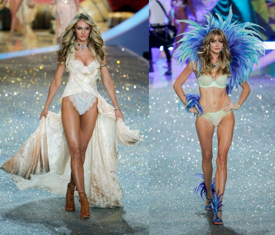 Victoria's Secret angels, Candice Swanepoel (L) and Lindsay Ellingson present a creation during the annual Victoria's Secret Fashion Show in New York. (Photo: REUTERS/Lucas Jackson)