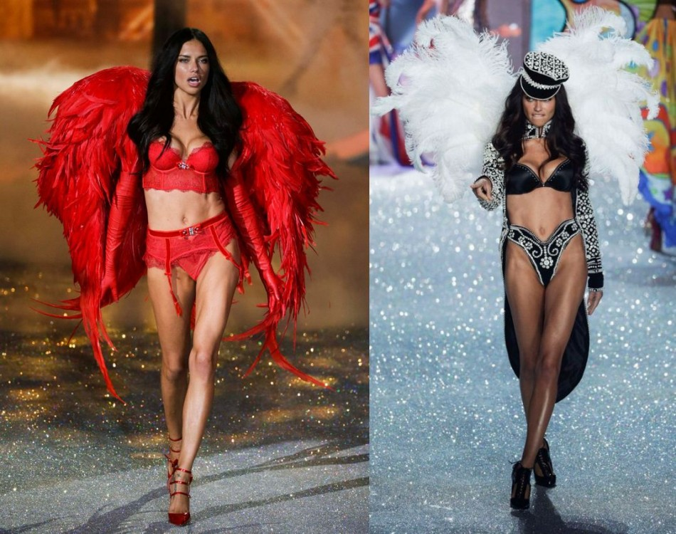 Lima presents two of Victoria's Secret creations. (Photo: REUTERS/Lucas Jackson)