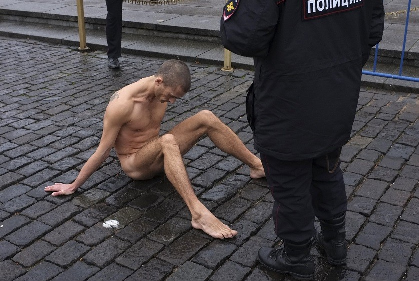 Pyotr Pavlensky facing police probe over Red Square nail stunt PIC: Reuters