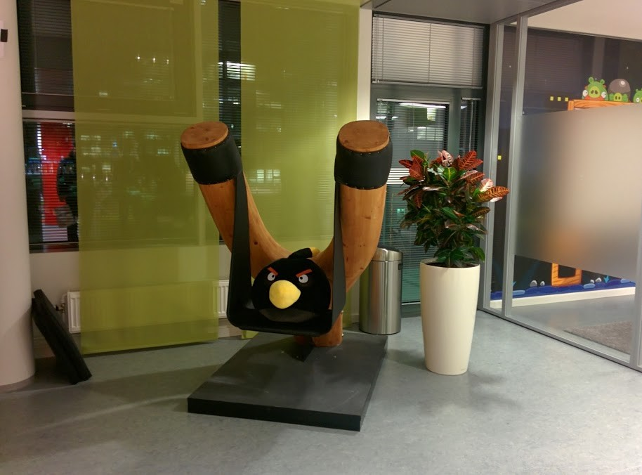 Real life slingshot/chair in Rovio's Helsinki headquarters