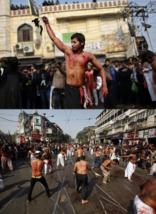 Ashura processions held in Delhi (Top) and Kolkata. (Photo: REUTERS)