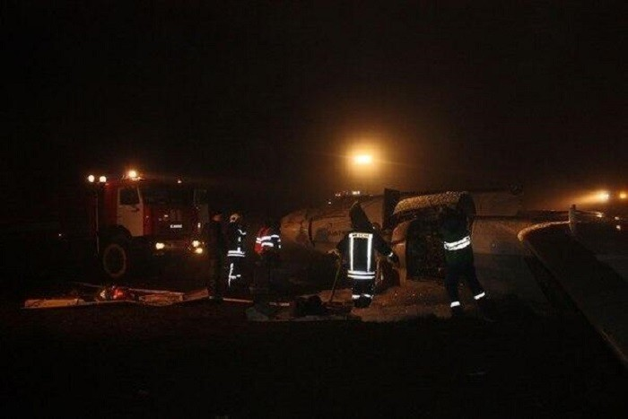 Eyewitness photo from the scene of the crash in the city of Kazan. (Photo: Alexander Bunin)