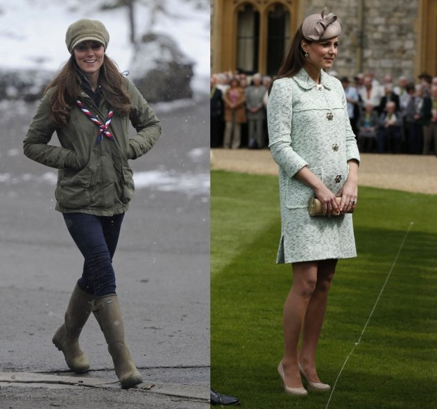 Kate Middleton visited a Scout Camp in northern England in March (L) and attended the National Review of Queen's Scouts at Windsor Castle in Berkshire in April when she was pregnant with Prince George. (Photo: REUTERS/Olivia Harris)