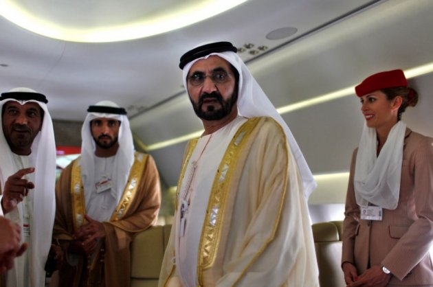 United Arab Emirates' Prime Minister and Ruler of Dubai Sheikh Mohammed bin Rashid al-Maktoum takes a tour inside an Airbus A380 aircraft during the Dubai Airshow (Reuters)