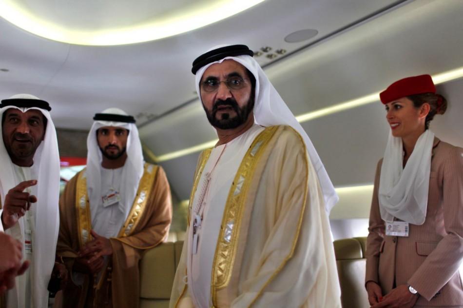 United Arab Emirates' Prime Minister and Ruler of Dubai Sheikh Mohammed bin Rashid al-Maktoum takes a tour inside an Airbus A380 aircraft during the Dubai Airshow (Reuters)