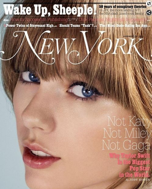 """American country crooner Taylor Swift has been called the """"biggest pop star in the world"""" in the latest issue of New York magazine."""