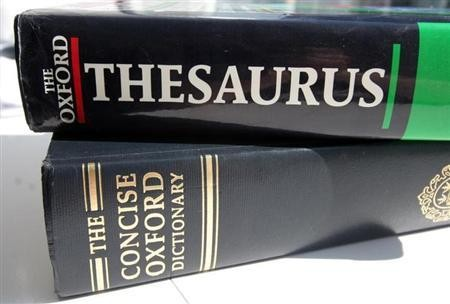 A generic picture of an English dictionary and a thesaurus. OFFPO
