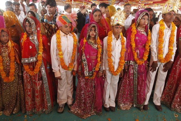 Child brides and grooms in India at their engagement ceremony PIC: Reuters