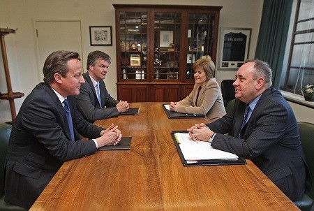 David Cameron faces Alex Salmond
