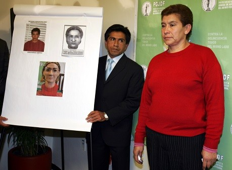 Juana Barraza (R) is presented to the media after she was arrested on suspicion of being a serial murderer