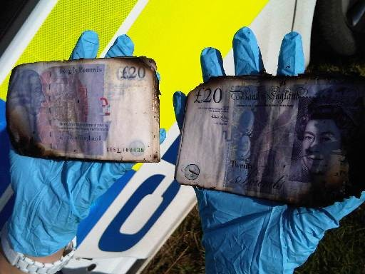 Water damaged notes from river Spalding PIC: Lincolnshire police
