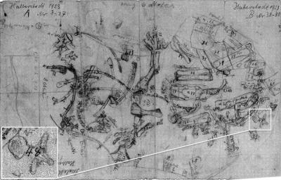 image of original excavation field map from Halberstadt, 1923