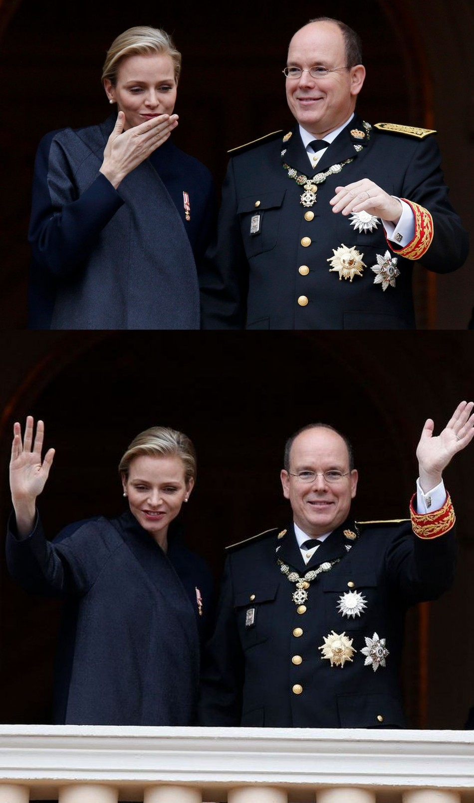 Princess Charlene and Prince Albert II of Monaco blow a kiss to well-wishers wave from the Palace balcony. (Photo: REUTERS/Eric Gaillard)
