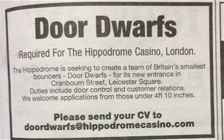 The advert seen in the paper