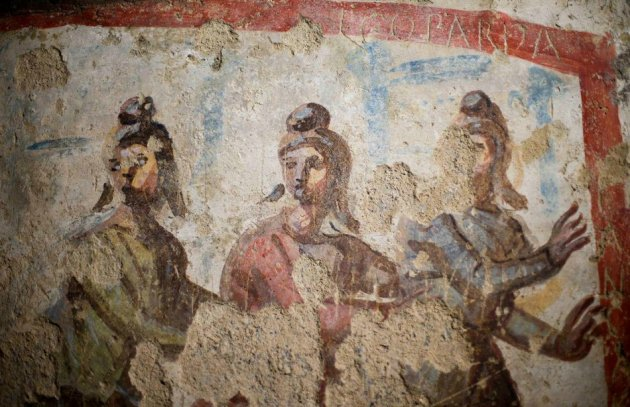 Frescoes showing image of women inside the catacomb of Priscilla have reignited debate on women priesthood. in early Christianity. (Photo: REUTERS/Max Rossi)