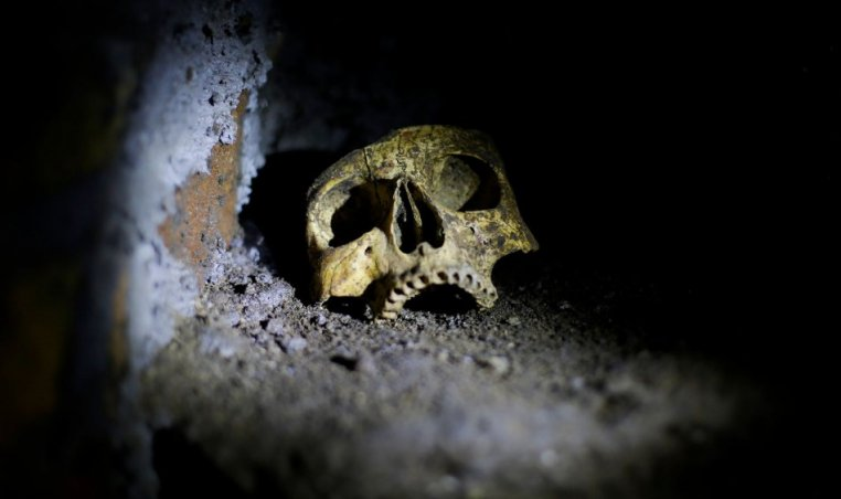 A skull is pictured inside the catacomb of Priscilla, an ancient underground burial places under Rome. (Photo: REUTERS/Max Rossi)