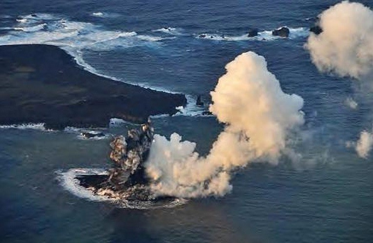 Smoke and ash pours from the sea in Southern Japan PIC: Coastguard