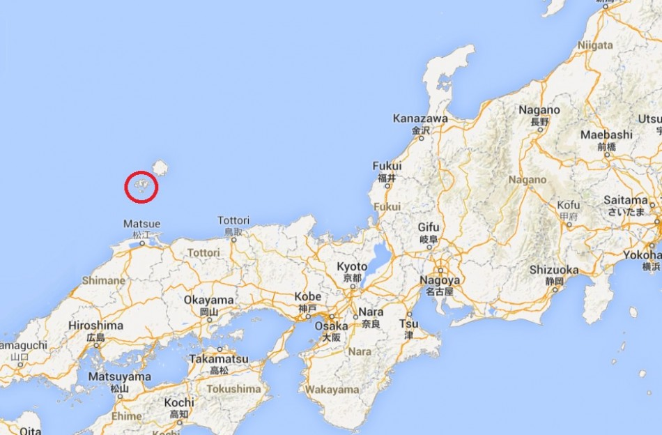 Red ring marks island of Nishinoshima where new island has appeared near the coast PIC: Google