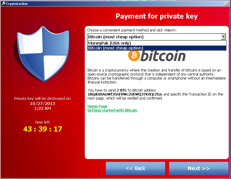 CryptoLocker Ransomware Trojan Bitcoin Payment Page