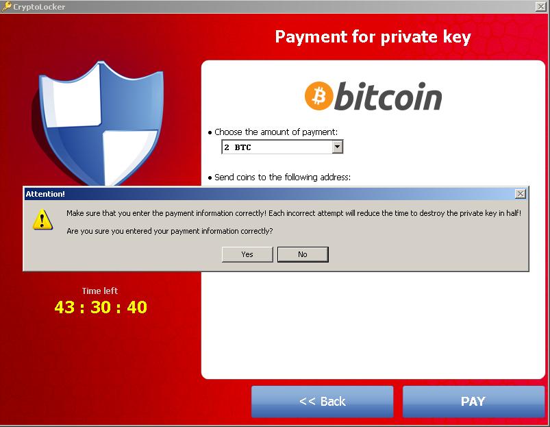 CryptoLocker Ransomware Trojan is paid by Bitcoins