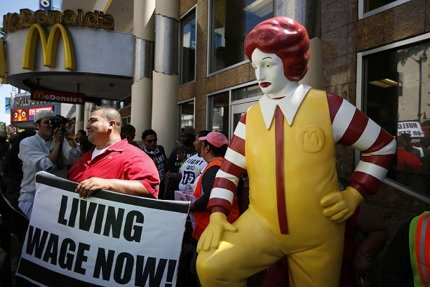 McDonalds staff have staged calling for $15 hourly wages and union representation (Reuters)