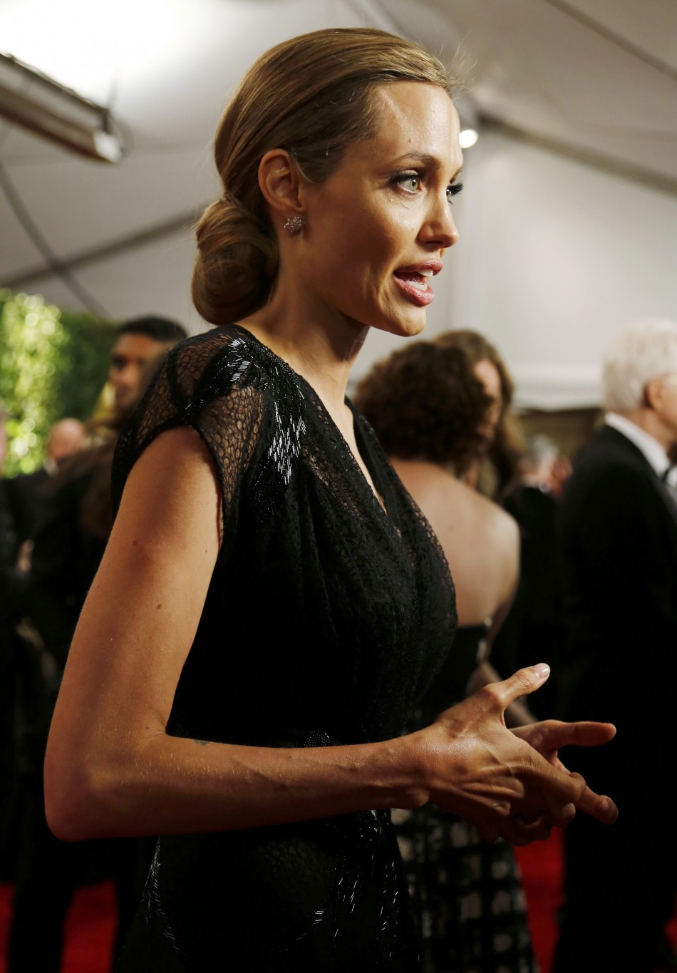 Actress Angelina Jolie is interviewed at the Annual Academy of Motion Picture Arts and Sciences Governors Awards in Hollywood