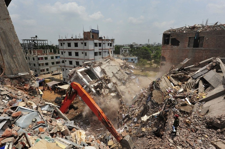 The remaining standing part of the collapsed Rana Plaza building. The disaster resulted in 1,100 garment worker deaths (Photo: Reuters)