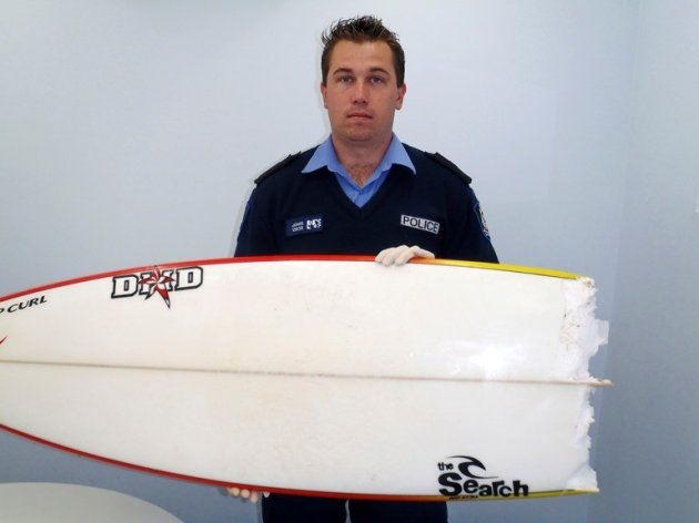 Surfboard bitten in half in an earlier shark attack in the lefties surfing area