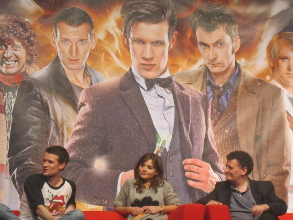 (L-R) Matt Smith, Jenna Coleman, Steven Moffat at the Doctor Who 50th Anniversary celebration in London (Photo: Lianna Brinded, IBTimes UK)
