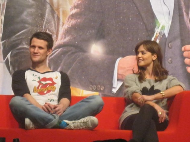 (L-R) Doctor Who's Matt Smith and Jenna Coleman at the Doctor Who 50th Anniversary Celebration in London (Photo: Lianna Brinded, IBTimes UK)