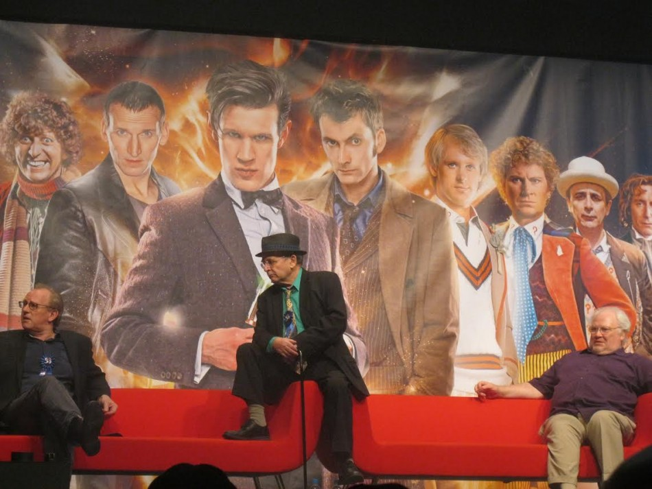 (L-R) Peter Davison, Sylvester McCoy, Colin Baker speak to an audience of thousands for the Doctor Who 50th Anniversary celebration (Photo: Lianna Brinded, IBTimes UK)
