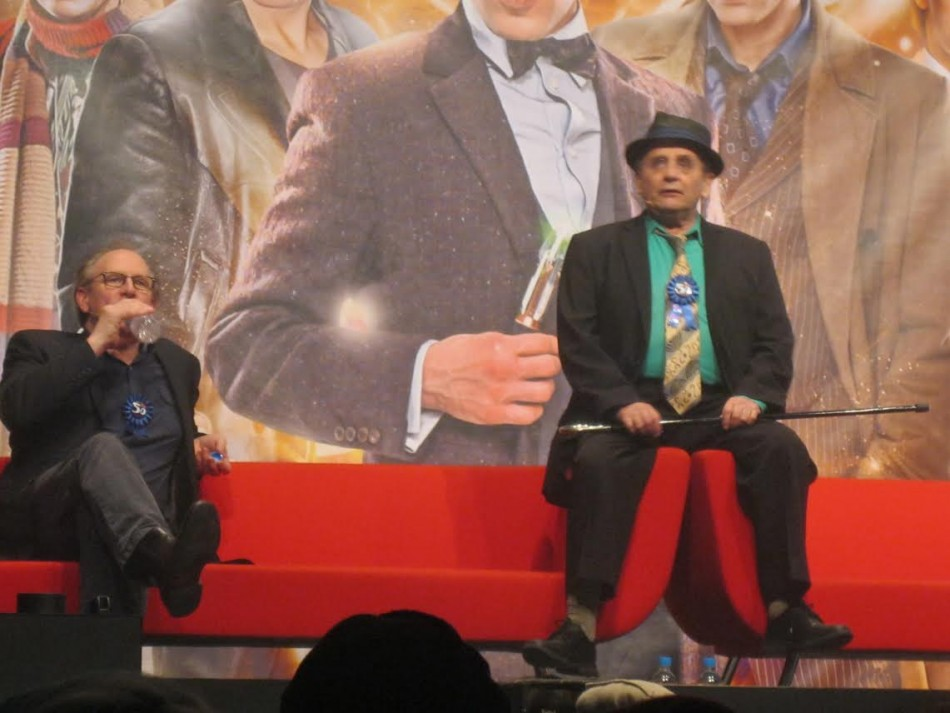 (L-R) Peter Davison, Sylvester McCoy, speak to an audience of thousands for the Doctor Who 50th Anniversary celebration (Photo: Lianna Brinded, IBTimes UK)