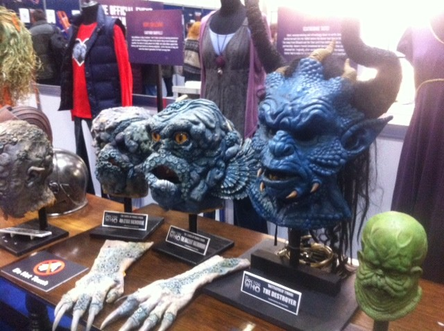 Doctor Who 50th Anniversary Celebration in London showcase props and masks (Photo: Donald Sinclair)