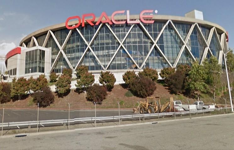 Oakland Coliseum, where veteran saved suicide leap woman PIC: Reuters