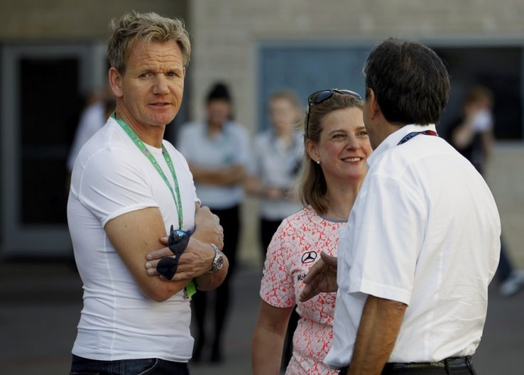 Celebrity Chef Gordon Ramsay Looks on as He Awaits the Start of the Austin F1 Grand Prix at the Circuit of the Americas in Austin